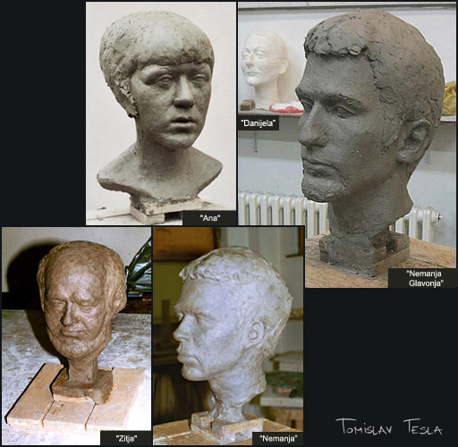 Clay head sculptures by Tomislav Tesla